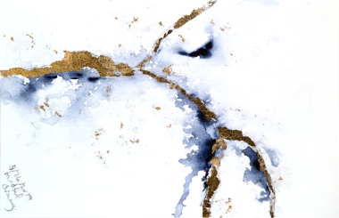 Indigo-and-Gold-Leaf-Abstract-I